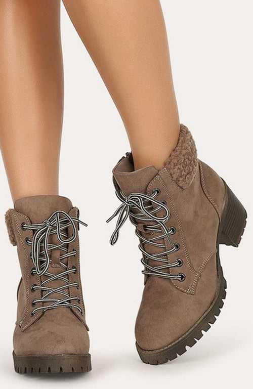 Taupe and Fleece Lace Up Winter Boots