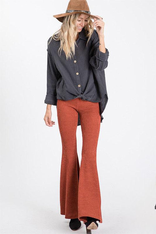 Rust Colored Wide Leg Botom Pants
