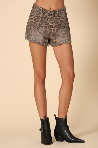 High Waist Leopard Print Shorts - THE WEARHOUSE