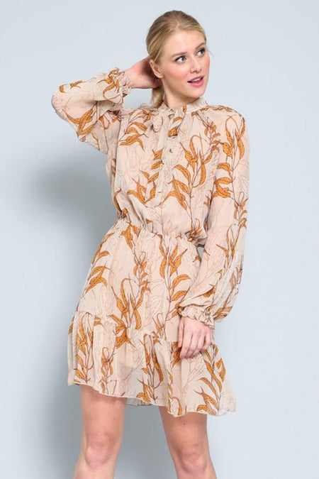 Orange Cheetah Print Long Sleeve Ruffled Midi Dress