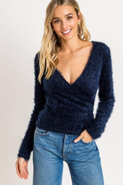 Navy Fuzzy Wrapped Sweater