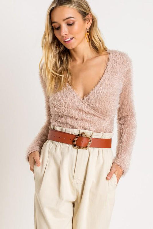 Oatmeal Fuzzy Wrapped Sweater