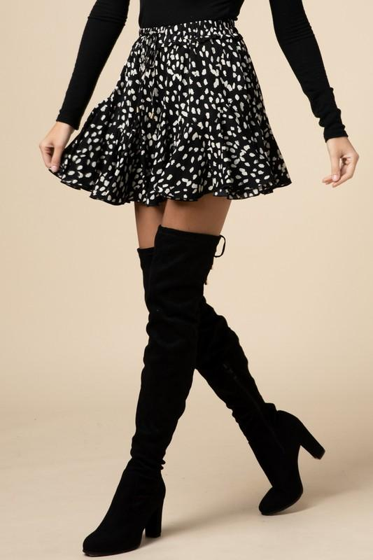 Black Cheetah Geometric Skirt