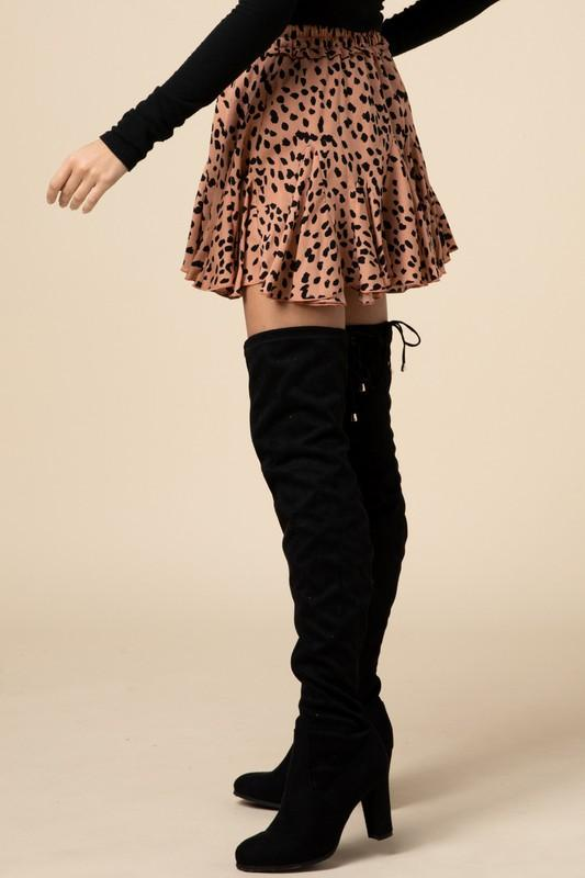 Brown Cheetah Geometric Skirt