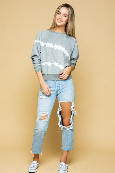 Charcoal Tie-Dye Long Sleeve Crew Neck Sweatshirt