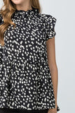 Black Brushstroke Polka Dot Print Smock Top