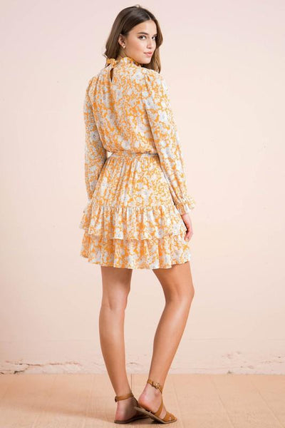 Yellow Smocked Textile Print Mini Dress - THE WEARHOUSE