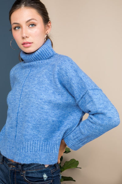 Blue Turtleneck Sweater