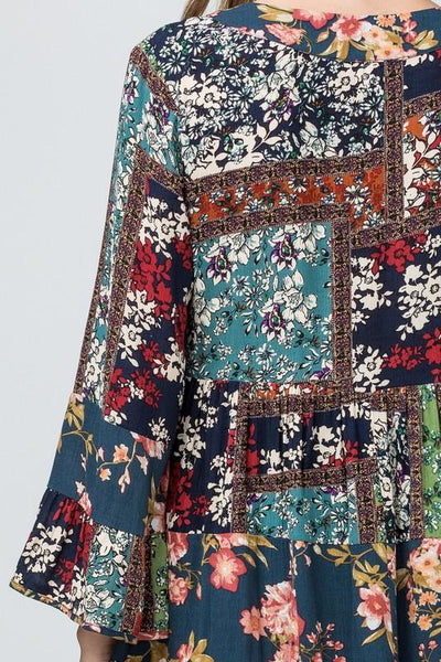Teal Multi Colored Patchwork Dress - THE WEARHOUSE