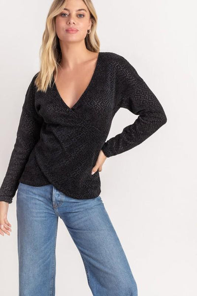 Black Chenille Cross Front Detail Sweater - THE WEARHOUSE