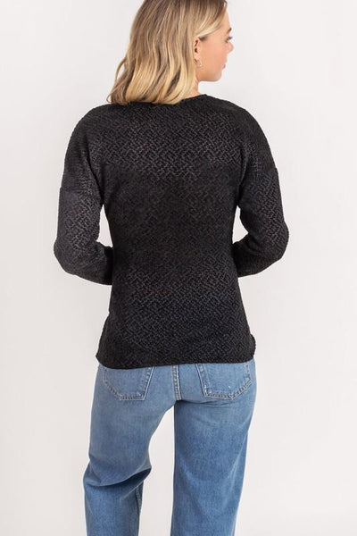 Black Chenille Cross Front Detail Sweater