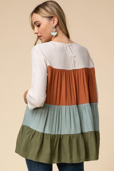 Color Block Tiered Top