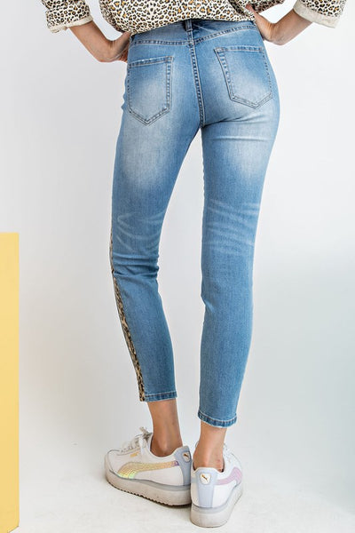 Side Stripe Leopard Distressed Skinny Jeans