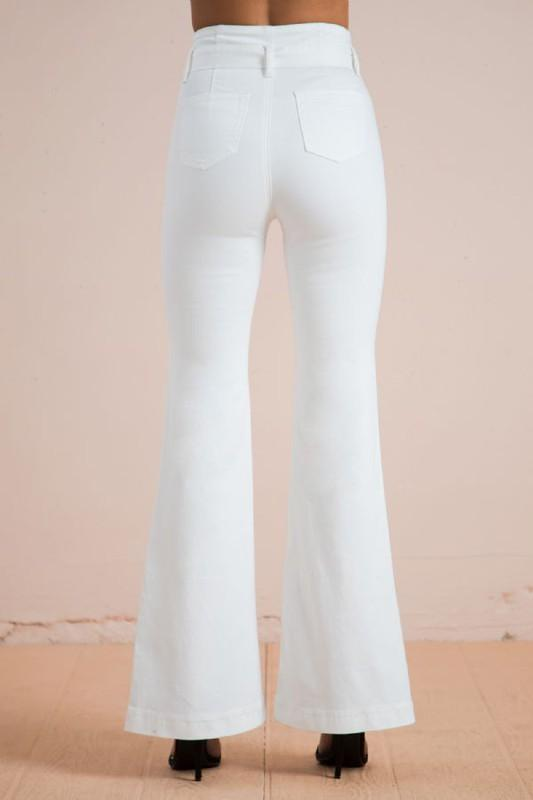 Willa White Self Tie Belt Flare Jeans - THE WEARHOUSE