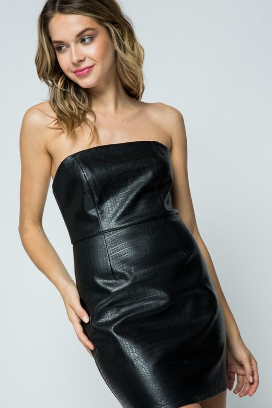 Black Snakeskin Faux Leater Strapless Dress - THE WEARHOUSE
