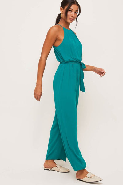 Dark Green Halter Tie Jumpsuit
