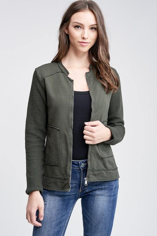 Army Green Motto Knit Jacket