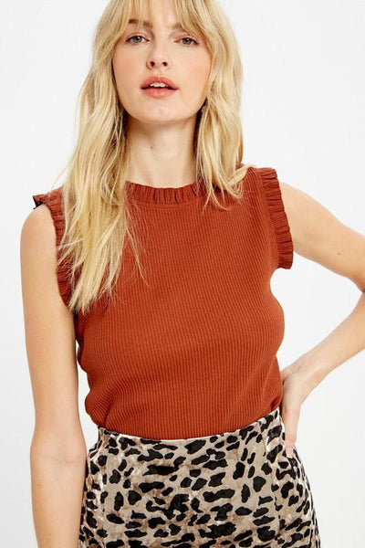 Rust Colored Ribbed Knit Top