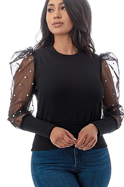 Black Lace and Pearl Sleeve Top