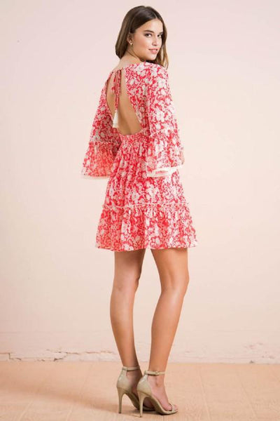 Red and White Floral Mini Dress - THE WEARHOUSE