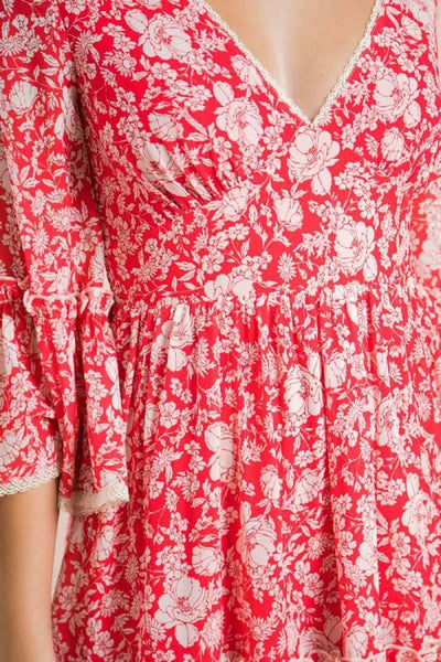 Red and White Floral Mini Dress