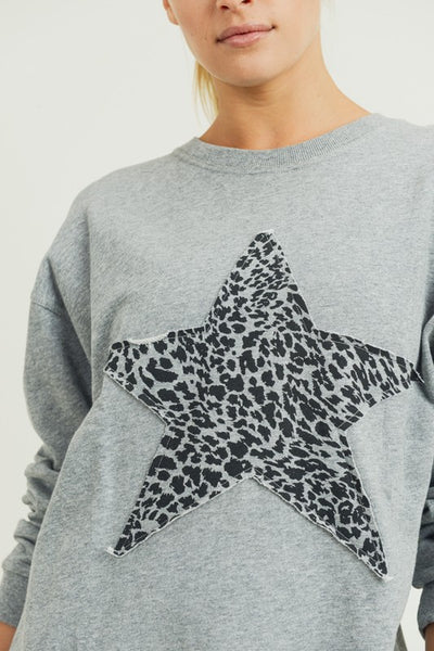 Grey Cheetah Star Terry Sweatshirt