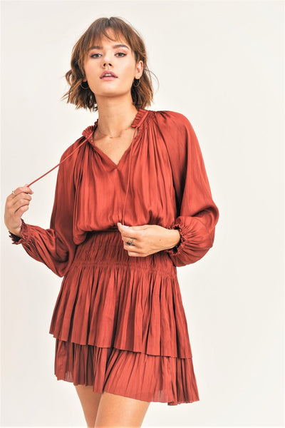 Rust Colored Satin Long Sleeve Dress
