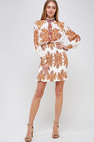 Gold Paisley Print Smocked Dress - THE WEARHOUSE