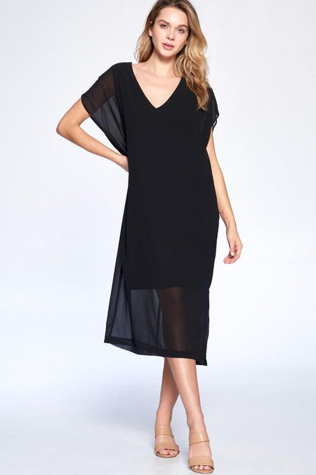 Black Woven Dress with Midi Wrap