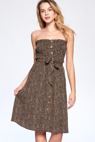 Black Justine Animal Print Tube Dress - THE WEARHOUSE