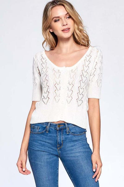 Ivory Colored Penelope Knitted Half Sleeve Cardigan