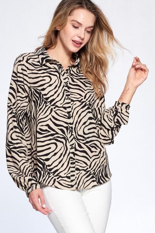 Black and Tan Zebra Print Top - THE WEARHOUSE