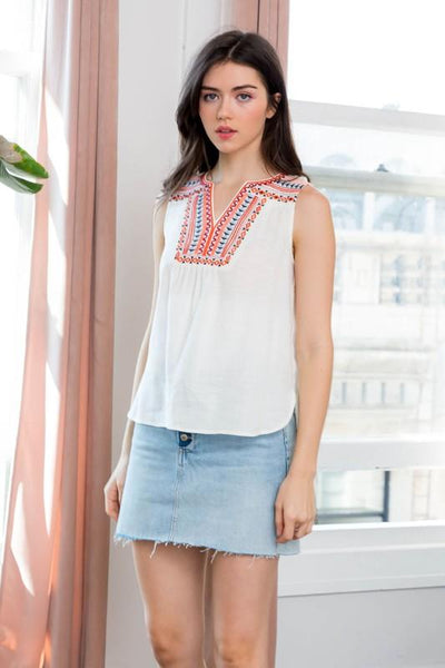 White and Multi-Colored Embroidered V Neck Top