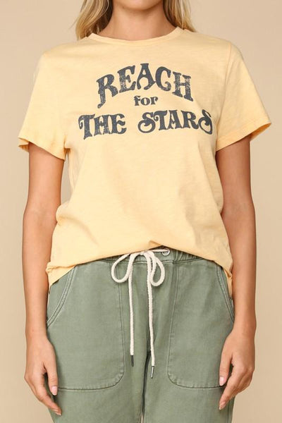 "Honey Colored ""Reach for the Stars"" Graphic Tee"