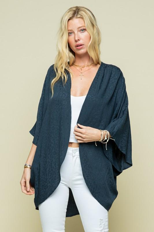 Light Navy Animal Print Kimono