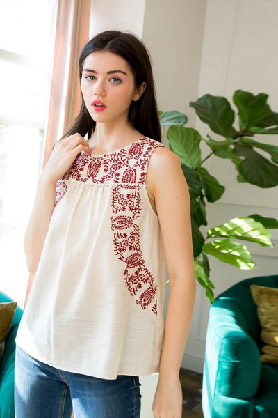 Natural Colored Embroidered Floral Tank