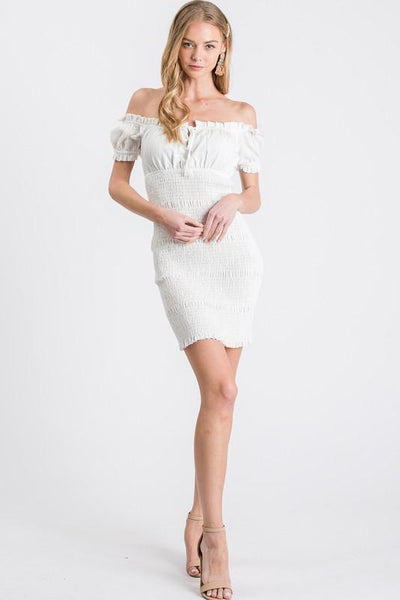 Off White Smocked Mini Dress - THE WEARHOUSE