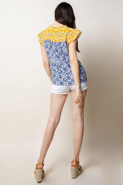 Blue and Yellow Mixed Print Top