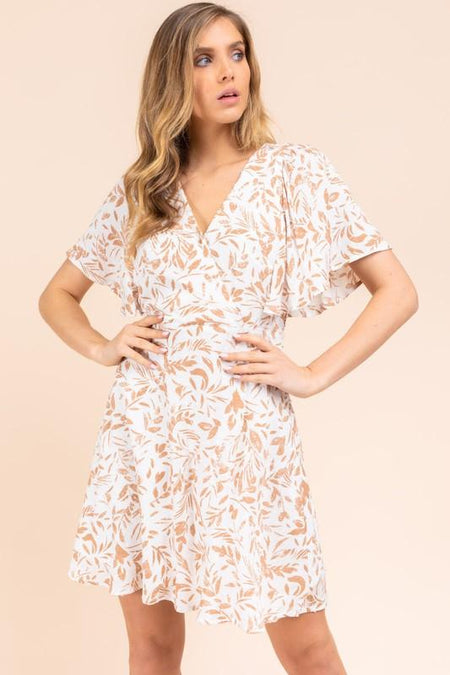 Cream Tube Smocked Mini Dress