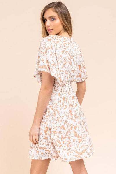 White and Tan Ruffle Sleeve Surplice Mini Dress - THE WEARHOUSE