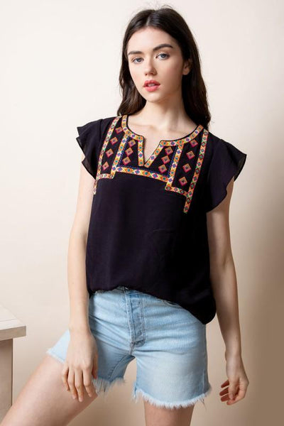 Black Embroidered Knit Print Top