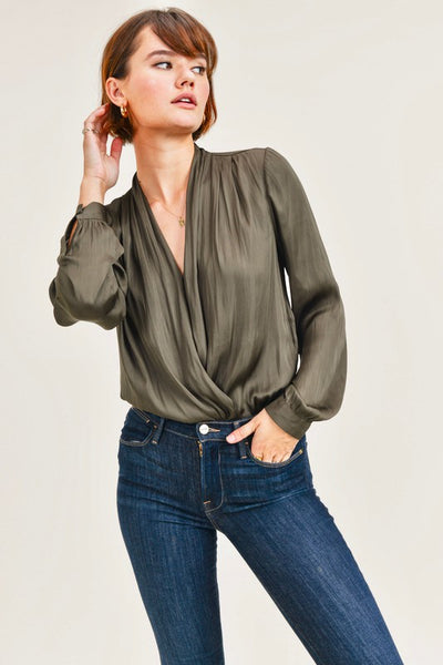 Olive Colored front Wrap Top with Snap Button Detail