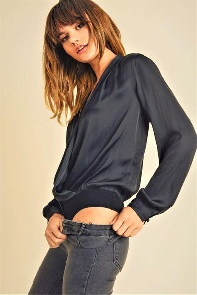 Black Front Wrap Top with Snap Button Detail - THE WEARHOUSE