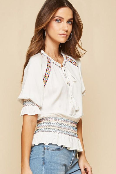 Ivory Neck Tie Embroidered Top