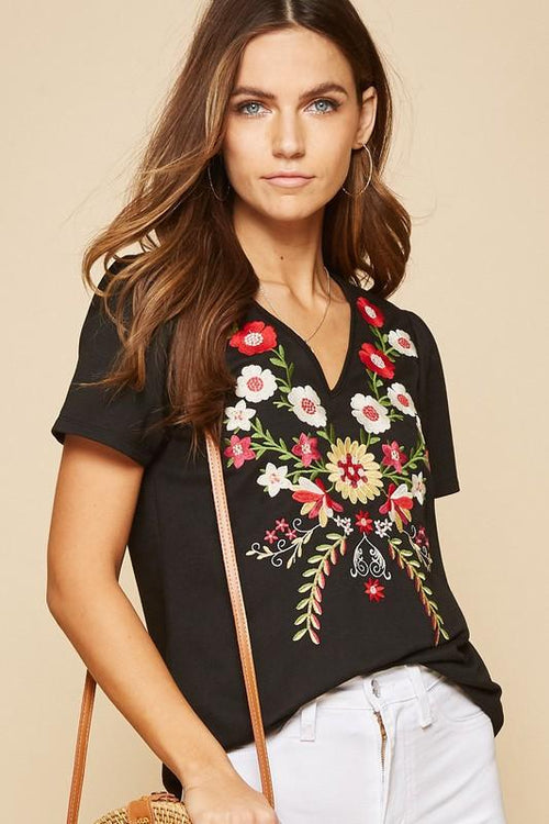 Black and Embroidered Short Sleeve Top