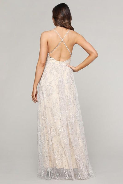 Cream and Mesh Slit Open Maxi Dress - THE WEARHOUSE