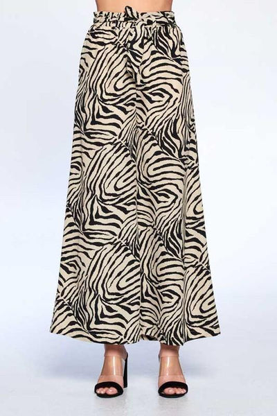 Sand Colored Samira Zebra Wide Leg Pants