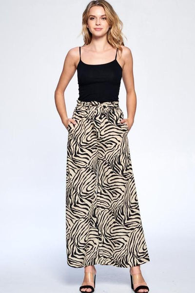 Sand Colored Samira Zebra Wide Leg Pants - THE WEARHOUSE