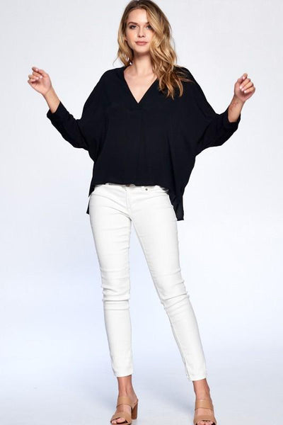 Black Keane V-Neck Blouse
