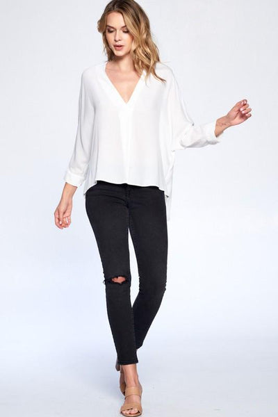 White KeaneV-Neck Blouse - THE WEARHOUSE